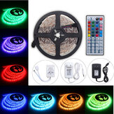 5M 24W RGB SMD5050 À prova d'água 300 LED Strip Light + 44 Key remoto 12V 2A Adaptador de energia Kit completo