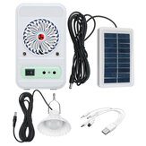 4-in-1 750LM Camping Light Solar Power Panel Cooling Fan EDC Power Bank Emergency Lamp Outdoor Travel