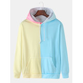 Homens Color Block Patchwork Loose Pouch Pocket Hoodies com cordão