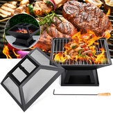 18.5x18.5x5.31inch 2-in-1 BBQ Grill Heater Fire Pit Square Firepit Brazier Outdoor Camping Picnic Garden
