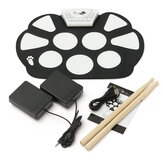 Skládací Roll Up USB Electronic Drum 9 Silicon Pad Kit Silicon w / Stick Kid Gift