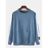 Mens Cotton Side Stripe Applique Crew Neck Raglan Sleeve Pouch Pocket Sweatshirts