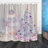 GiángsinhNộithấtXmasLò sưởi trong màu hồng Trang trí trong nhà Rèm tắm Bộ phòng tắm với Mat Vải phòng tắm cho trang trí bồn tắm