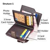 Carteira casual masculina de couro PU com zíper moeda titular do cartão de crédito Bolsa