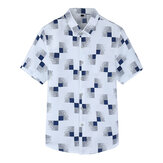 Plus Size S-5XL Plaid Printing Casual Business Summer Shirts