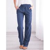 Kadınların gündelik düz renk elastik bel düz Pantolon