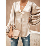 Women Solid Color V-neck Lantern Sleeve Shirts