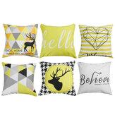 Geometrische kussenhoezen gele plaid strepen print kussensloop voor thuis stoel bankdecoratie