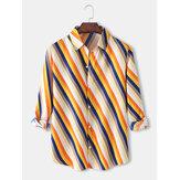 تصميم رجالي قطري مقلم طية صدر السترة عارضة قمصان طويلة الأكمام