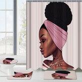 Tappetino antiscivolo per tappetini da bagno per tappetini da bagno per tende da doccia impermeabili per ragazza africana