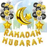 Eid Ramadan Mubarak Letter Pentagram Moon Party Foil Balloon Decoration Set