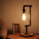 E26 Industrial Retro Iron Wooden Table Lamp Living Room Bedside Light Decor