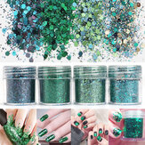Super Shining Grass Green Mixed Glitter Poudre Sequins Nail Decoration Dust Mermaid Effect Manicure