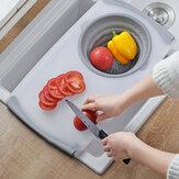 Kitchen Telescopic Multifunctional Thick Plastic Chopping Board Drain Storage Basket