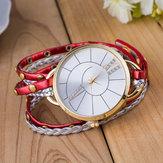 Einfaches Zifferblatt Lederband Quarz Uhr Damen Armbanduhr