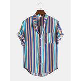 Herren Vertical Stripe Stand Collar Button Up Lässige Kurzarmhemden