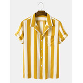 Män Casual Striped Turn-Down Collar Kortärmade T-shirts