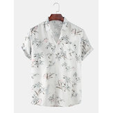 Hommes Coconut Trees Light Printed Turn Down Collar Pocket Hawaii Casual Short Sleeve Shirts