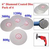 4pcs 6 polegadas 600/800/1200/3000 grit roda colo plana lapidação disco de moagem