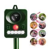 Macchinetta Ultrasonico per Cacciare gli Animali in Giardinocon SensorePIR con Alimentazione Solare Torcia LED