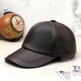 Collrown Mannen PU lederen vintage baseballcap persoonlijkheid met geweven hoed