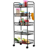 5-Tier Mesh Wire Rolling Cart Metal Kitchen Storage Cart 4 Lockable Wheels Hooks Rolling Steel Basket Shelving Utility Shelf Rack Trolley