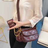 Women Fashion 3Pcs Argyle Solid Shoulder Bag Crossbody Bag