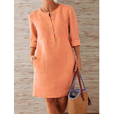 Women Solid Color O-neck Button Shirt Dress With Pocket