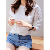 Casual Women Lace Patchwork Long Sleeve Blouse