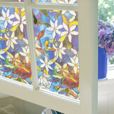 78x18in Window Film Colored Flowers Glass Sticker Bathroom Privacy Home Decoration