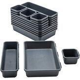 Jiuyuehua 1008 8 piezas organizadores de cajones Caja conjunto de organizadores de refrigerador de tocador separadores entrelazados juego de contenedores de almacenamiento para oficina en casa