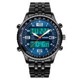 SKMEI 1032 Steel Strap Luminous Dual Display Digital Menonton