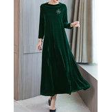 Elegante vrouwen fluwelen jurk met lange mouwen en zakken