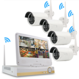 GUUDGO 4CH 1080P HD Wireless WIFI IP Camera Homeuse Security System NVR Outdoor CCTV IP Camera With 10.1Inch Monitor LCD