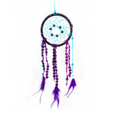 Purple Feather Dream Catcher Handmade Window Wall Hanging Car Decor Oranments Craft