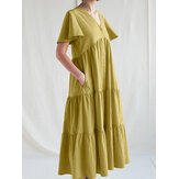 Women Solid Color V-neck Cotton Pleated Button Loose Casual Maxi Dress