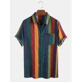 Mens Thin Breathable Cotton Colorful Stripe Holiday Short Sleeve Shirts