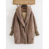 Şapka ile Kalın Faux Fur Uzun Kollu Kadın Coats
