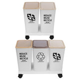 Triple Recycling Bin Large Capacity All Plastic Light-Weight with Label For Home Kitchen Living Room