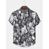 Mens Abstract Celebrity Print Lapel Collar Casual Short Sleeve Shirts With Pocket