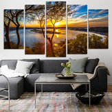 5 Panel Lona Painting Sunset Lake Tree Paisaje marino Paisaje Póster de impresión Wall Art Decor Picture