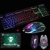 LED Подсветка игровой клавиатуры + 2400DPI Мышь Наборы + Мышь Pad USB Проводная клавиатура