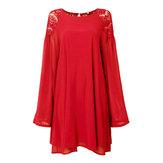 Mini vestido ocasional con cordones linterna gasa de la manga sin respaldo para las mujeres
