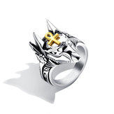 Punk Ring Finger Titanium Steel Cross Anubis Head Jewelry