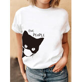 T-shirt casual quotidiane di base con stampa gatto maschere da fumetto estive