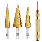 Drillpro 4-piece Combo Package Contains the Center Punch Locator Without Cap and 3pc Step Drills with Hexagon Shank