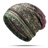 Women Cotton Ethnic Plaid Multifunctional Beanie Hat Scarf Vintage Good Elastic Turban Caps