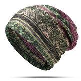 Kadınlar Pamuk Etnik Ekose Çok Fonksiyonlu Beanie Şapka Eşarp Vintage Iyi Elastik Türban Kapaklar