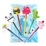 6 STKS Squishy Pen Cap Groothandel Panda Dinosaurus Eenhoorn Taart Dier Slow Rising Jumbo Met Pen Stress Speelgoed Gift