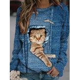 Kobiety projektują 3D Cat Print Pullover z długim rękawem Śliczne bluzy